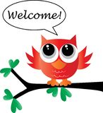 Welcome from a sweet little owl. Header or banner event vector illustration