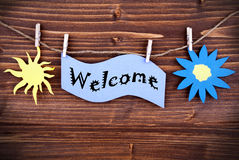 Welcome Tag in Purple Stock Images