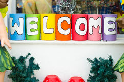 Welcome text Stock Photos
