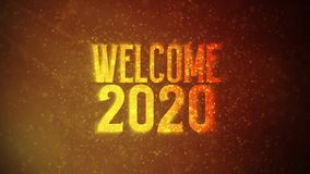`Welcome 2020` text in front of beautiful golden particles, glitters background.