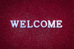 Welcome Text on Red Carpet Royalty Free Stock Photo