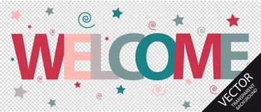 Welcome Text With Stars And Spirals - Colorful Vector Illustration - Isolated On Transparent Background Royalty Free Stock Photography