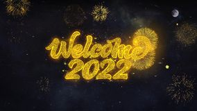 Welcome 2022 Text Wishes Reveal From Firework Particles Greeting card.