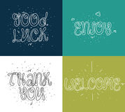 Welcome, thank you, good luck, enjoy. Set of modern calligraphy and hand drawn elements. Typographical concept. Usable Royalty Free Stock Image
