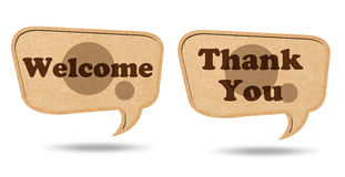 Welcome and Thank you on Recycle Paper bubbles Stock Photo