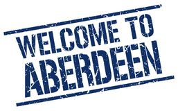 Welcome to Aberdeen stamp. Welcome to Aberdeen square grunge stamp isolated on white background. Aberdeen royalty free illustration