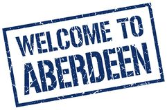Welcome to Aberdeen stamp. Welcome to Aberdeen square grunge stamp isolated on white background. Aberdeen stock illustration