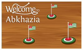 Welcome to Abkhazia poster with Abkhazia flag, time to travel Abkhazia. vector illustration isolated. EPS file available. see more images related stock illustration