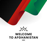 Welcome to Afghanistan. Afghanistan flag. Patriotic design. Vector. Royalty Free Stock Image