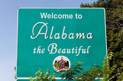 Welcome to Alabama. A welcome sign at the Alabama state line Stock Photo