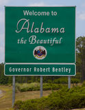 Welcome To Alabama w\ Governor. Current Alabama entry sign with controversial governor Bentleys name shot at the entry into alabama from florida on I10 Royalty Free Stock Photo