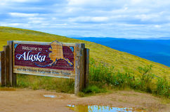 Welcome to Alaska. Sign in the historic fortymile district royalty free stock images