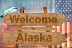 Welcome to Alaska in USA sign in wood, travell theme Stock Photos