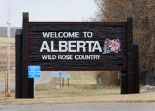 Welcome to Alberta. A welcome sign at the Canadian border in Alberta Stock Photography