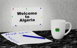 Welcome to Algeria. Big mug and label on the wall with text Welcome to Algeria. 3D rendering Royalty Free Stock Photography