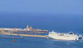 Welcome to Algiers. Passenger ship entering the port of Algiers in Algeria stock images