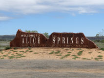 Welcome to Alice Springs. A sign welcoming travelers to Alice Springs, a town in NT, Australia Royalty Free Stock Images