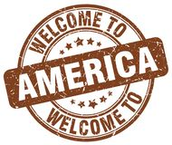Welcome to America stamp. Welcome to America round grunge stamp isolated on white background. America. welcome to America