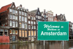 Welcome to Amsterdam sign in water Royalty Free Stock Images
