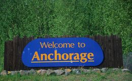 Welcome to  Anchorage sign Stock Image