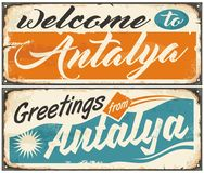 Welcome to Antalya retro souvenir signs set Stock Images