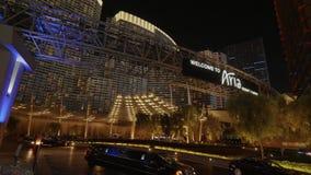 Welcome to Aria Resort and Casino - beautiful evening view - USA 2017. Welcome to Aria Resort and Casino - beautiful evening view stock video footage