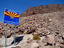 Welcome to Arizona sign. Welcome to Arizona the Grand Canyon State sign. Sign is situated near the Hoover Dam Royalty Free Stock Photos