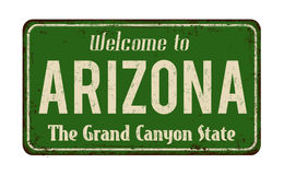 Welcome to Arizona vintage rusty metal sign. On a white background, vector illustration stock illustration