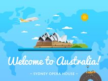 Welcome to Australia poster with famous attraction Royalty Free Stock Image
