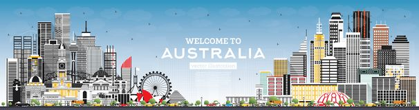 Welcome to Australia Skyline with Gray Buildings and Blue Sky stock illustration
