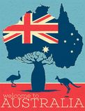Welcome to Australia vintage poster. With australian patriotic symbols. World traveling minimalistic concept with jumping kangaroo, touristic advertisement royalty free illustration