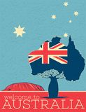 Welcome to Australia vintage poster. With australian patriotic symbols. World traveling minimalistic concept, touristic tour advertisement, authentic country stock illustration