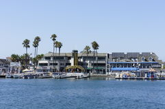 Welcome to BALBOA. Balboa in New Port Beach were located at the Pier with beautiful modern buildings with tall pine trees speedboats and yacht Royalty Free Stock Photography