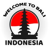Welcome to bali. Indonesia with background flag indonesia Royalty Free Stock Photo