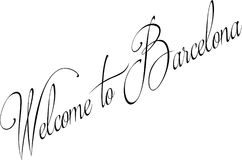 Welcome to Barcellona text sign illustration Stock Photo