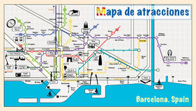 Welcome to Barcelona. Attractions on map. Royalty Free Stock Image