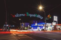 Welcome to Bayside holiday decorations sign on street intersection in Bayside, Queens royalty free stock photo