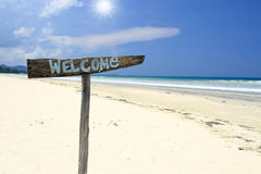 Welcome to the beach holiday Stock Images
