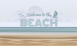 Welcome to the beach text on Sand and sea abstract background vector design Royalty Free Stock Photos