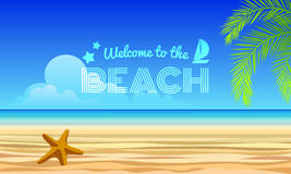 Welcome to the beach text - starfish on Sand and sea, coconut leaves abstract background vector design royalty free illustration