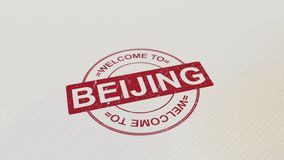 WELCOME TO BEIJING stamp red print on the paper. 3D rendering Stock Image