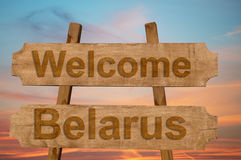 Welcome to  Belarus sing on wood background Royalty Free Stock Images