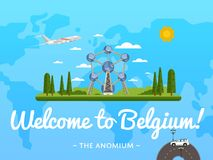 Welcome to Belgium poster with famous attraction Stock Photography