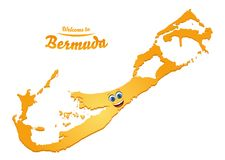 Welcome to Bermuda happy face map. Illustration stock illustration