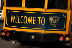 Welcome to Beverly Hills. Welcoming sign on the back of a trolley in Beverly Hills, California Royalty Free Stock Images