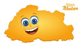 Welcome to Bhutan happy face map. Illustration stock illustration