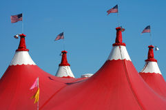 Welcome to the Big Top. Colorful Red and white Circus tent Royalty Free Stock Photos