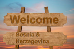 Welcome to  Bosnia & Herzegovina sing on wood background Stock Images
