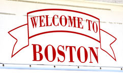 Welcome to Boston Sign. Detail of welcome to Boston sign with red paint Stock Photography