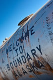 Welcome to Boundary. Written on an old tank Royalty Free Stock Image